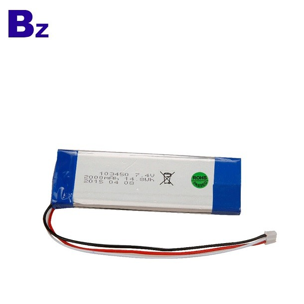 深圳電池廠商供應 BZ 103450 2000mah 7.4V 可充電鋰離子電池