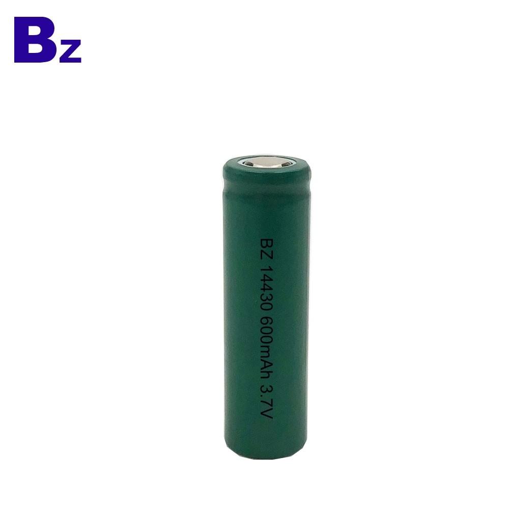 定制圓柱形鋰電池 BZ 14430 600mAh 3.7V 鋰離子電池