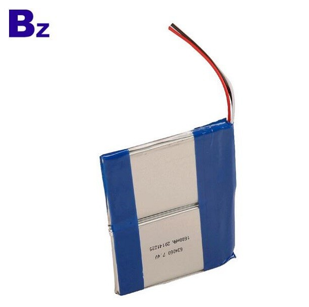 定制高品質 BZ 634060 7.4V 1600mAh 鋰聚合物電池