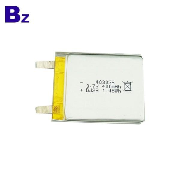 中國鋰電池供應商定制 BZ 403035 400mah 3.7V 可充電鋰離子電池