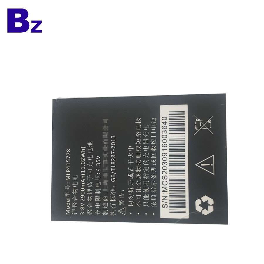 415778 2900mah 3.8V 用於移動電話的鋰離子充電電池