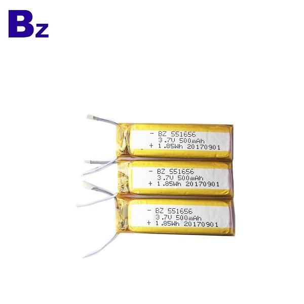 551656 500mAh 3.7V 鋰聚合物電池