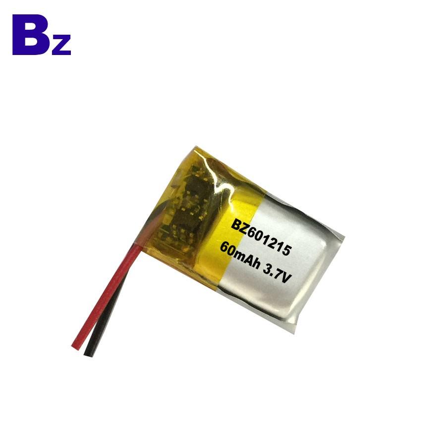 601215 60mAh 3.7V 用於數碼產品的LiPo電池