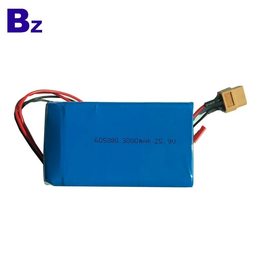 定制熱銷可充電鋰電池 BZ 605080-7S 25.9V 3000mAh 聚合物鋰離子電池組