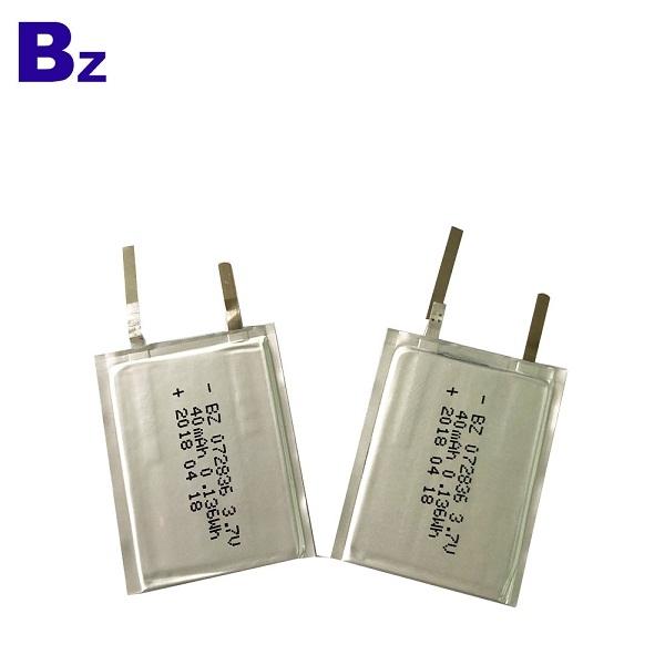電池供應商 OEM BZ 072836 3.7V 40mAh 可充電超薄電池