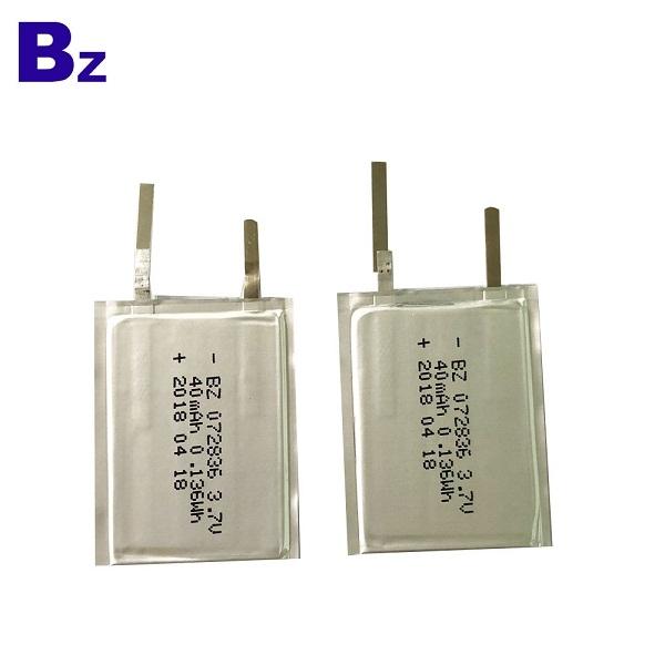 深圳電池供應商 OEM BZ 072836 3.7V 40mAh 可充電超薄電池