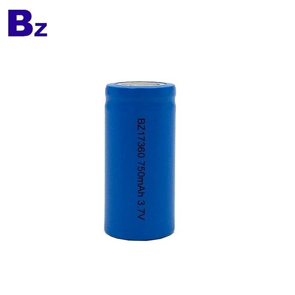 定制圓柱電池 BZ 17360 750mAh 3.7V 可充電鋰離子電池