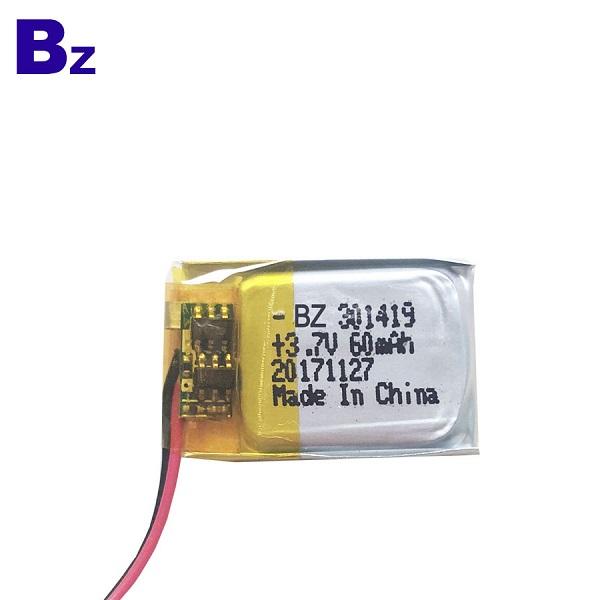 301419 60mAh 3.7V LiPo電池