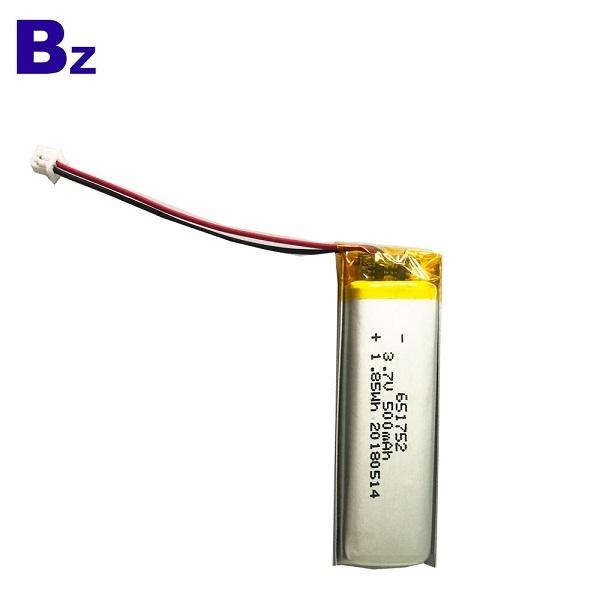 651752 3.7V 500mAh 鋰電池