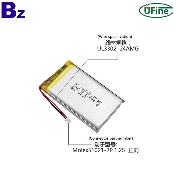 104065 3.7V 3200mAh锂聚合物电池