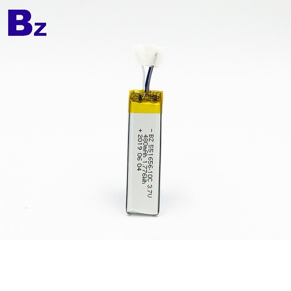 帶導線的480mAh鋰聚合物電池
