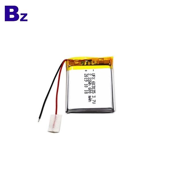 廠家供應600mAh帶線鋰電池